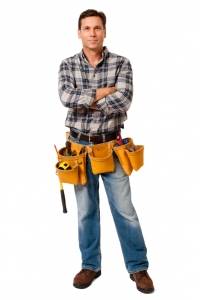 Construction Contractor Carpenter with Arms Crossed on White